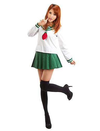 povoljno Anime cosplay-Inspirirana InuYasha Higurashi Kagome Anime Cosplay nošnje Japanski Cosplay Suits / School Uniforms Jednobojni Dugih rukava Top / Suknja Za Žene