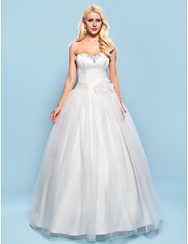 3faaad77d0 Ball Gown Sweetheart Floor Length Satin Tulle Wedding Dress with Crystal  Beading Sash   Ribbon Flower by LAN TING BRIDE® 492744 2019 –  129.99