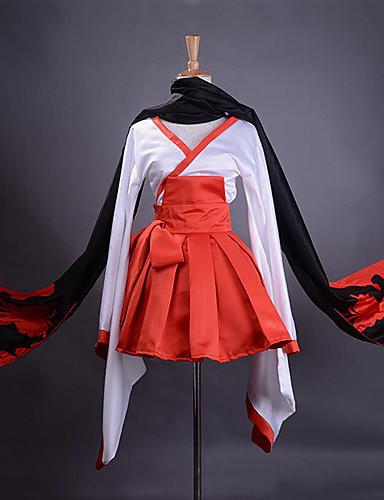 povoljno Anime cosplay-Inspirirana Inu x Boku SS Ririchiyo Shirakiin Anime Cosplay nošnje Japanski Cosplay Suits / Kimono Kolaž Dugih rukava Suknja / Pojas / šal Za Žene
