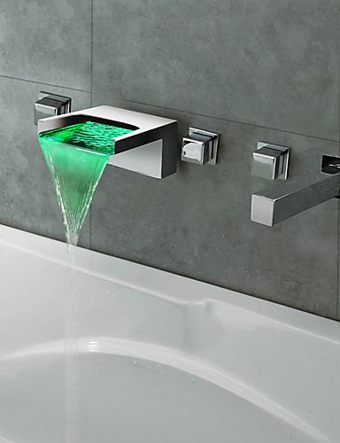 preiswerte Romanische Wanne-Moderne Romanische Wanne Wasserfall LED with  Keramisches Ventil Fünf Löcher for  Chrom , Badewannenarmaturen