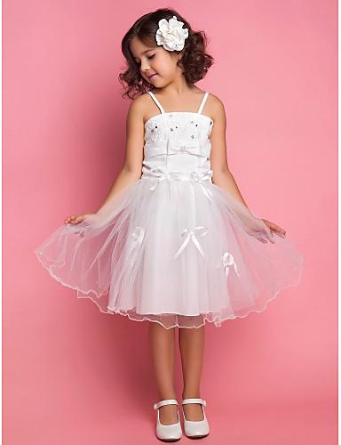 b9f6b8bdf2 A-Line Ball Gown Princess Knee Length Flower Girl Dress - Organza Satin  Sleeveless Spaghetti Straps with Beading Appliques Bow(s) Sash   365863  2019 – ...