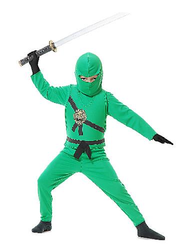 billige Zentai-Soldat / Kriger Ninja Cosplay Kostumer Party-kostyme Barne Kids Kjønn Halloween Karneval Barnas Dag Festival / høytid Satin Kids Karneval Kostumer Lapper / Hodeplagg / Hansker
