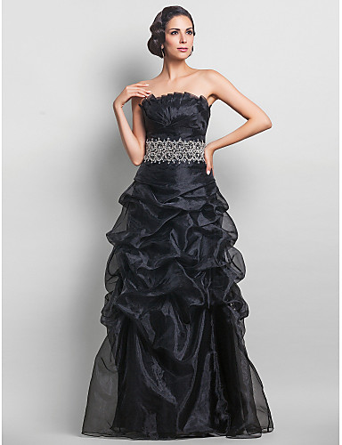 cheap Special Occasion Dresses-A-Line Vintage Inspired Prom Formal Evening Military Ball Dress Strapless Sleeveless Floor Length Organza with Pick Up Skirt Criss Cross Crystals 2020