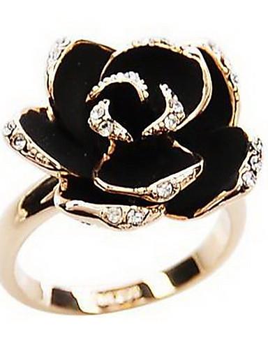 preiswerte Hualuo®-Damen Statement-Ring Silber Golden Strass Aleación damas Retro Europäisch Party Alltag Schmuck Handwerker Rosen Blume Billig Verstellbar