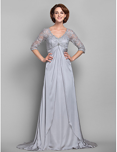 d739aee0418 Sheath   Column V Neck Sweep   Brush Train Lace Satin Chiffon Mother of the Bride  Dress 617 Beading Crystal Detailing Lace by 612478 2019 –  63.74