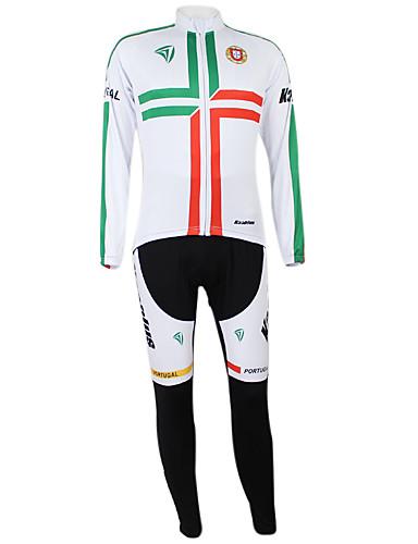 povoljno Odjeća za vožnju biciklom-Malciklo Muškarci Žene Dugih rukava Biciklistička majica s tajicama Bijela / Green Portugal Prvak Državne zastave Bicikl Sportska odijela Brdski biciklizam biciklom na cesti Vjetronepropusnost Quick