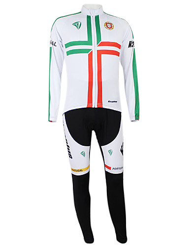 povoljno Odjeća za vožnju biciklom-Malciklo Muškarci Žene Dugih rukava Biciklistička majica s tregericama Bijela / Green Portugal Prvak Državne zastave Bicikl Sportska odijela Brdski biciklizam biciklom na cesti Vjetronepropusnost