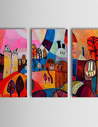preiswerte Abstrakte Landschaftsbilder-handgemaltes abstraktes Ölgemälde genießen Sie das glückliche Leben des Dorfes, das abstrakte Kunst drei Platten ausgedehntes Segeltuch