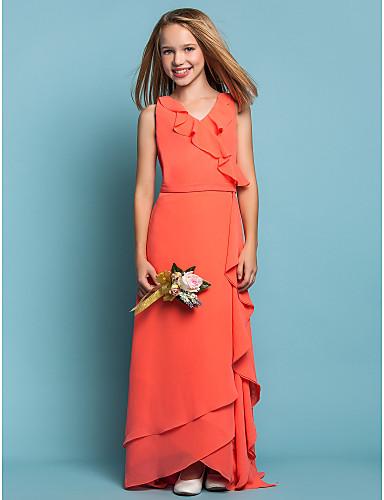 Sheath / Column V Neck Asymmetrical Chiffon Junior Bridesmaid Dress Sash / Ribbon / Cascading Ruffles / Ruffles LAN TING BRIDE® / Spring / Summer / Fall / Apple / Hourglass