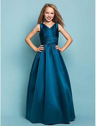 ALine Princess Vneck Floor Length Satin Junior Bridesmaid Dress