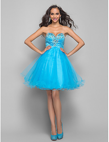 ece56dc5894 A-Line Sweetheart Neckline Short   Mini Tulle Cocktail Party   Prom Dress  with Beading   Crystals by TS Couture® 635900 2019 –  69.99