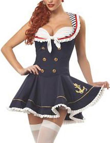 billige Sexy Uniformer-Dame karriere Kostymer Matros Maritime Uniformer Kjønn Cosplay Kostumer Party-kostyme Lapper Kjole Hatt