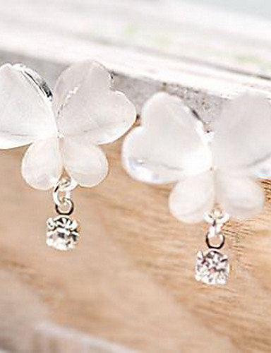 preiswerte Hualuo®-Damen Synthetischer Diamant Tropfen-Ohrringe Schmetterling Tier Billig damas Einzigartiges Design Simple Style Strass Ohrringe Schmuck Weiß Für Party Alltag