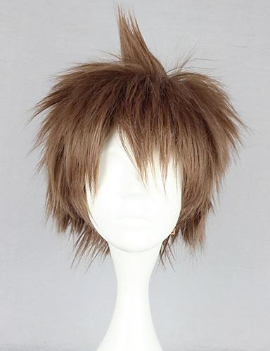 cheap Videogame Cosplay-Cosplay Wigs Dangan Ronpa Cosplay Hajime Hinata Brown Anime / Video Games Cosplay Wigs 12 inch Heat Resistant Fiber Women's Halloween Wigs