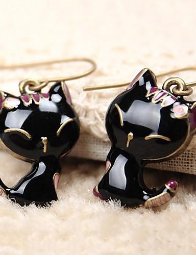 preiswerte Hualuo®-Damen Tropfen-Ohrringe Klassisch Katze Tier Billig Schick & Modern nette Art Harz Ohrringe Schmuck Schwarz Für Alltag Innen 1 Paar