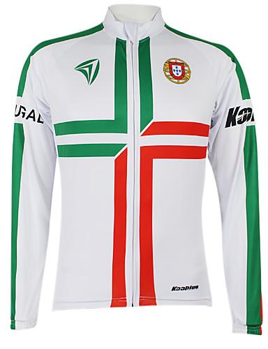 povoljno Biciklističke majice-Malciklo Muškarci Žene Dugih rukava Biciklistička majica Bijela / Green Portugal Prvak Državne zastave Bicikl Biciklistička majica Majice Brdski biciklizam biciklom na cesti Vjetronepropusnost Quick
