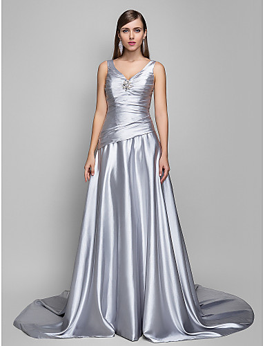 cheap Special Occasion Dresses-A-Line Open Back Formal Evening Dress V Neck Sleeveless Sweep / Brush Train Satin Chiffon with Criss Cross Side Draping 2020