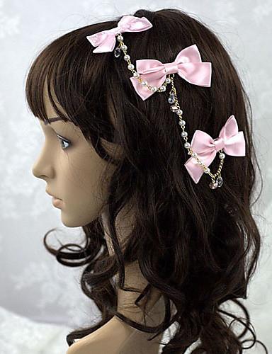 preiswerte Schmucktypen-Prinzessin Damen Sweet Lolita Schmuck Kopfbedeckung Solide Schleife Satin Lolita Accessoires