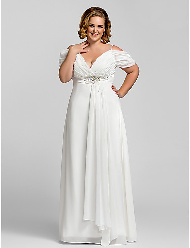 cheap Plus Size Dresses-Sheath / Column Open Back Prom Formal Evening Dress Spaghetti Strap Short Sleeve Floor Length Chiffon with Crystals 2020