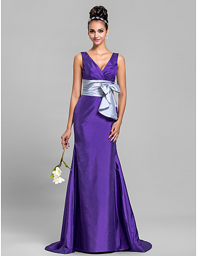 5130547aad Mermaid   Trumpet V Neck Sweep   Brush Train Taffeta Bridesmaid Dress with  Bow(s) Ruched Criss Cross by 663640 2019 –  99.99