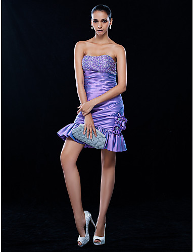 213ded19fc0 Sheath   Column Strapless Short   Mini Taffeta Cocktail Party Homecoming  Wedding Party Dress with Beading Flower(s) Side Draping by 699480 2019 –   99.99