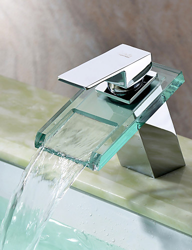 preiswerte Sprinkle® Badarmaturen-Moderne  with  Chrom Ein Griff Ein Loch  for Wasserfall Mittelset