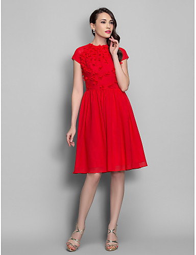 cheap Special Occasion Dresses-A-Line Fit & Flare Open Back Keyhole Cocktail Party Prom Dress Jewel Neck Short Sleeve Knee Length Chiffon with Flower 2020
