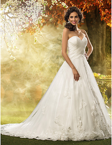cheap Wedding Dresses Under $200-Ball Gown Sweetheart Neckline Court Train Tulle Made-To-Measure Wedding Dresses with Appliques / Criss-Cross by LAN TING BRIDE® / Church