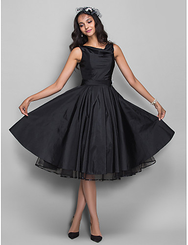 cheap Special Occasion Dresses-Back To School Ball Gown 1950s Black Cocktail Party Prom Dress V Neck Sleeveless Knee Length Taffeta with Pleats Crystals 2020 Hoco Dress