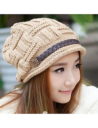 Women's Active Knitwear Beanie / Slouchy-Solid Colored Winter Pink Cream Khaki / Hat & Cap