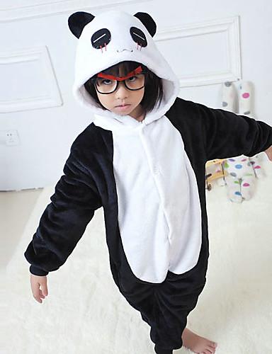 preiswerte Kostüme für Kinder-Kinder Kigurumi Kigurumi-Pyjamas Panda Tier Pyjamas-Einteiler Flanell Vlies Schwarz / Weiß Cosplay Für Tiernachtwäsche Karikatur Fest / Feiertage Kostüme