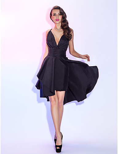 cheap Cocktail Dresses-Back To School A-Line Sexy Black Homecoming Cocktail Party Dress V Neck Sleeveless Short / Mini Taffeta with Pleats Overskirt 2020 Hoco Dress