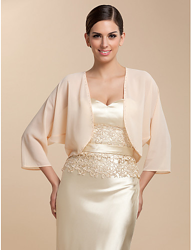 cheap Wedding Wraps-Coats / Jackets Chiffon Party Evening / Casual Wedding  Wraps / Bolero With Draping / Solid