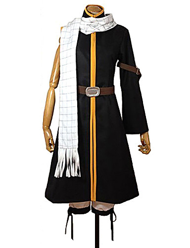 cheap Anime Costumes-Inspired by Fairy Tail Natsu Dragneel Anime Cosplay Costumes Japanese Cosplay Suits Patchwork Coat Pants Belt For Men's Women's Boys' / Scarf / Scarf