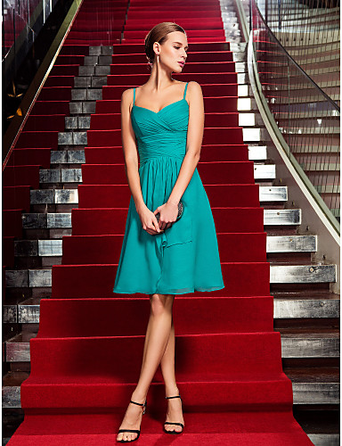 cheap Free Shipping-Back To School Sheath / Column Celebrity Style Minimalist Cute Holiday Homecoming Cocktail Party Dress Spaghetti Strap Sleeveless Knee Length Chiffon with Criss Cross Ruched 2020 Hoco Dress