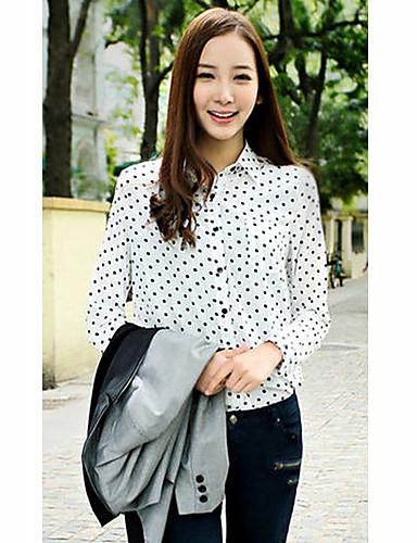Women's Shirt,Polka Dot Shirt Collar Long Sleeve Blue / White ...