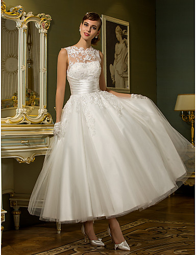 cheap Wedding Dresses Under $200-A-Line High Neck Ankle Length Lace Over Tulle Made-To-Measure Wedding Dresses with Appliques / Sash / Ribbon / Ruched by LAN TING BRIDE® / See-Through