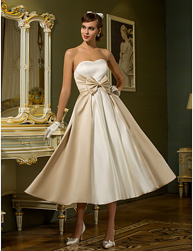 cheap Wedding Dresses-A-Line Sweetheart Neckline Tea Length Satin Strapless Casual / Vintage Little White Dress / Plus Size Wedding Dresses with Bowknot 2020