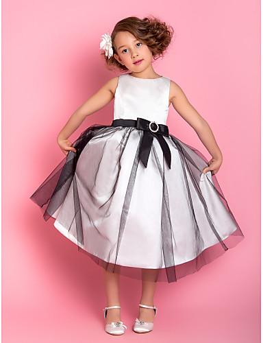 4445df1977311 A-line çay uzunluğu çiçek kızı elbise - saten tül kemerli mücevher boynu  yaylı (lar) lan ting bride® ile kristal broş 733944 2019 – $69.99