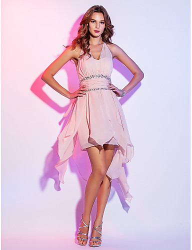 cheap Cocktail Dresses-Back To School A-Line High Low Pastel Colors Homecoming Cocktail Party Dress Halter Neck Sleeveless Asymmetrical Chiffon with Ruched Beading 2020 Hoco Dress
