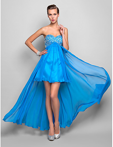 cheap Cocktail Dresses-Back To School A-Line High Low Holiday Homecoming Cocktail Party Dress Sweetheart Neckline Sleeveless Asymmetrical Chiffon with Crystals 2020 Hoco Dress
