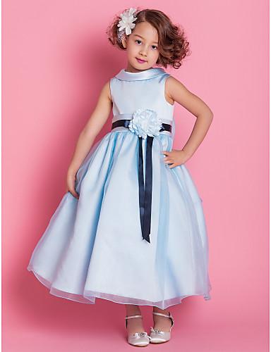 A-Line / Princess Ankle Length Flower Girl Dress - Organza / Satin Sleeveless High Neck Bow(s) / Sash / Ribbon / Flower LAN TING BRIDE® / Spring / Summer / Fall / Winter / Wedding Party