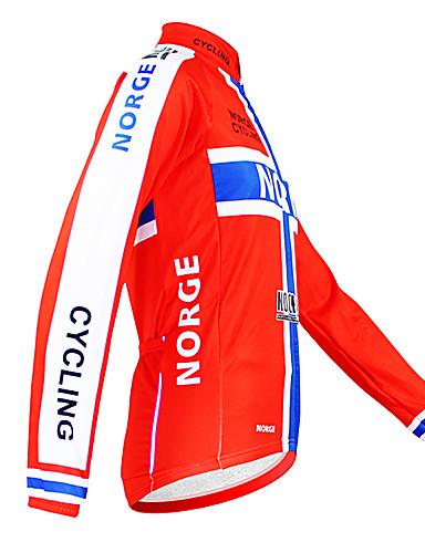 povoljno Odjeća za vožnju biciklom-Malciklo Muškarci Dugih rukava Biciklistička majica Red Norway Prvak Državne zastave Bicikl Biciklistička majica Majice Brdski biciklizam biciklom na cesti Ugrijati Podstava od flisa Prozračnost
