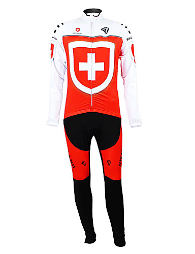 povoljno Odjeća za vožnju biciklom-Malciklo Muškarci Dugih rukava Biciklistička majica s tajicama Crna / crvena Switzerland Prvak Državne zastave Bicikl Sportska odijela Brdski biciklizam biciklom na cesti Ugrijati Podstava od flisa