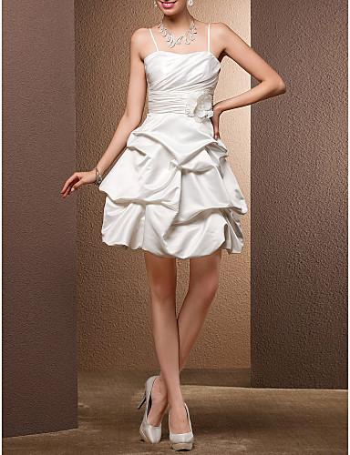 Báli ruha Spagettipánt Rövid   mini Szatén Made-to-measure esküvői ruhák  val vel Hosszú szoknya   Pántlika   szalag   Virág által   Kis fehér  szoknyák ... f06fc2c840