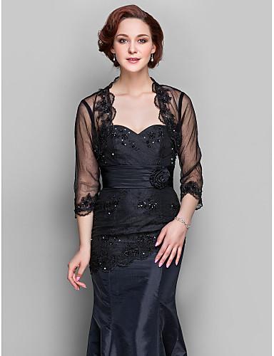 cheap Wedding Wraps-Shrugs Lace / Tulle Wedding / Party Evening Women's Wrap / Bolero With Beading