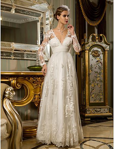 cheap Wedding Dresses-Sheath / Column Wedding Dresses V Neck Floor Length Lace Tulle Long Sleeve Romantic Casual See-Through Illusion Sleeve with Sash / Ribbon Draping 2020
