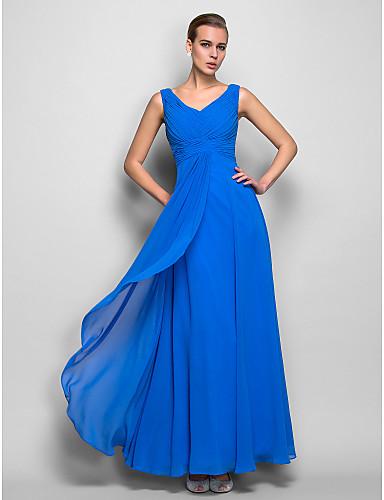 cheap Evening Dresses-Sheath / Column Elegant Minimalist Holiday Formal Evening Dress V Neck Sleeveless Floor Length Georgette with Criss Cross Ruched 2020