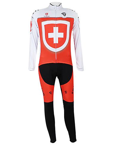 povoljno Odjeća za vožnju biciklom-Malciklo Muškarci Žene Dugih rukava Biciklistička majica s tregericama White+Red Switzerland Prvak Državne zastave Bicikl Sportska odijela Brdski biciklizam biciklom na cesti Vjetronepropusnost Quick