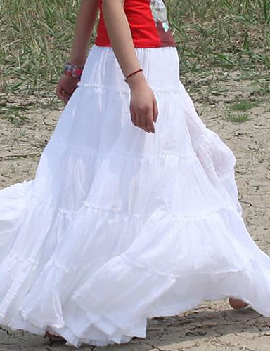bfe1709d2c [$14.84] Gypsy Bohemia Elegant Large Hem Cotton Spain Pleated Dance White  Long Maxi Skirts for Women